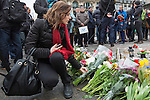 "BRUSSELS - BELGIUM - 23 March 2016 -- Belgium in mourning after the terrorist attack in  Maelbeek metro station - EU quarters, and the Brussels airport in Zaventem. -- Belgian Curray Volon brought flowers to the ""memorial"" at the Bourse in the city center. -- PHOTO: Juha ROININEN / EUP-IMAGES"