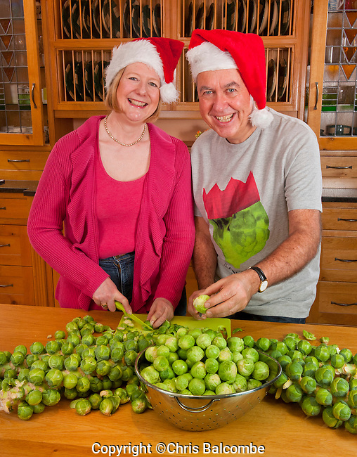 December 2014: Commisioned shoot for the Mail on Sunday:  Christmas names feature.<br /> Pictured are John and Caroline, preparing fresh sprouts, at their home 'Sproutes', in Sproutes Lane!<br /> They are John and Caroline Instance, and their home is near Coolham in Sussex.<br /> <br /> Pic: Chris Balcombe<br /> <br /> 07568 098176