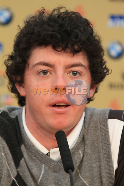 Rory McIlroy speaking at a press conference during the 2010 Ryder Cup at the Celtic Manor twenty ten course, Newport Wales, 28/9/2010.Picture Fran Caffrey/www.golffile.ie.