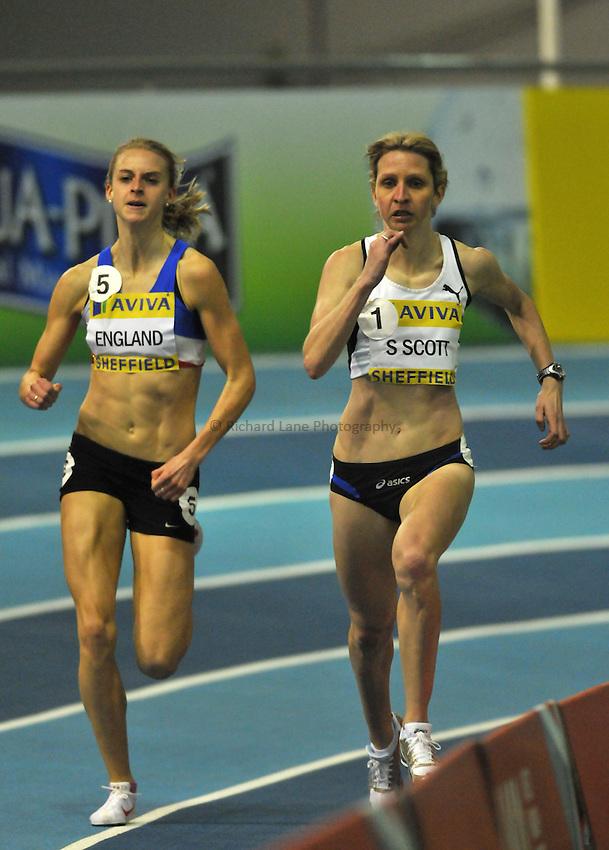 Photo: Tony Oudot/Richard Lane Photography..Aviva European Trials & UK Championships athletics. 15/02/2009. .Susan Scott wins the womens 1500m Final from Hannah England.