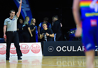 Photographer Blake Weston in action during the National Basketball League match between Cigna Wellington Saints and Canterbury Rams at TSB Bank Arena in Wellington, New Zealand on Sunday, 23 June 2019. Photo: Dave Lintott / lintottphoto.co.nz