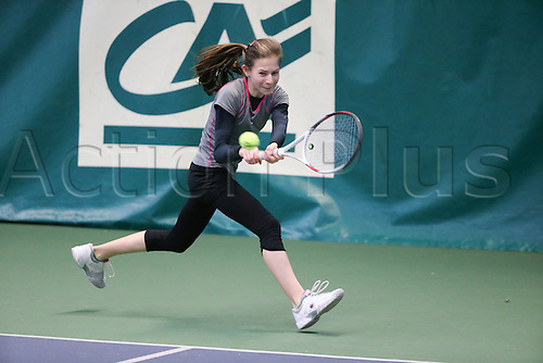 21.02.2015. Bretang, France. The Open Super 12- Agricole Tennis Champions for Boys and Girls aged 11-12 years.  Bilchev Kylie (GBR) in the girls semi-final match