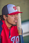 7 March 2013: Washington Nationals infielder Anthony Rendon sits in the dugout prior to a Spring Training game against the Houston Astros at Osceola County Stadium in Kissimmee, Florida. The Astros defeated the Nationals 4-2 in Grapefruit League play. Mandatory Credit: Ed Wolfstein Photo *** RAW (NEF) Image File Available ***