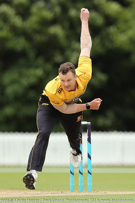 Wellington's Ollie Newton bowls during the Ford Trophy One Day match (round five) between Wellington Firebirds and Otago Volts at Bert Sutcliffe Oval in Lincoln, New Zealand on Friday, 29 November 2019. Photo: Martin Hunter / lintottphoto.co.nz