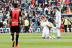 Real Madrid's Javier Chicharito Hernandez (l) and Cristiano Ronaldo before La Liga match. April 29,2015. (ALTERPHOTOS/Acero)