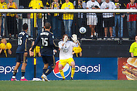 24 OCTOBER 2010: Columbus Crew midfielder/forward Eddie Gaven (12) is scored on as he plays goal keeper after William Hesmer (not pictured) has to leave due to injury and the Crew had no more substitutions during MLS soccer game at Crew Stadium in Columbus, Ohio on August 28, 2010.