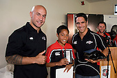 Goldfields Most Improved Player of the Year Sione Fakava with DJ Forbes & Chad Tuoro. Counties Manukau Rugby Union Junior representative prize giving held at Growers Stadium on Monday October 20th 2008.