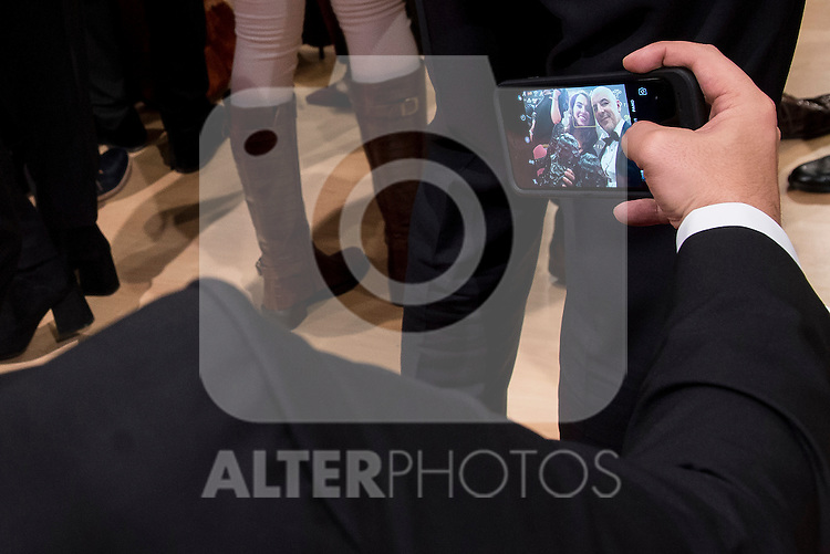 Silvia Perez Cruz and Roberto Alamo taking a selfie after the photo family for the media award at Madrid Marriott Auditorium Hotel in Madrid, Spain. February 04, 2017. (ALTERPHOTOS/BorjaB.Hojas)