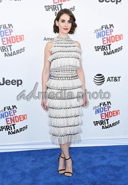 03 March 2018 - Santa Monica, California - Alison Brie. 2018 Film Independent Spirit Awards -Arrivals, held at the Santa Monica Pier. Photo Credit: Birdie Thompson/AdMedia