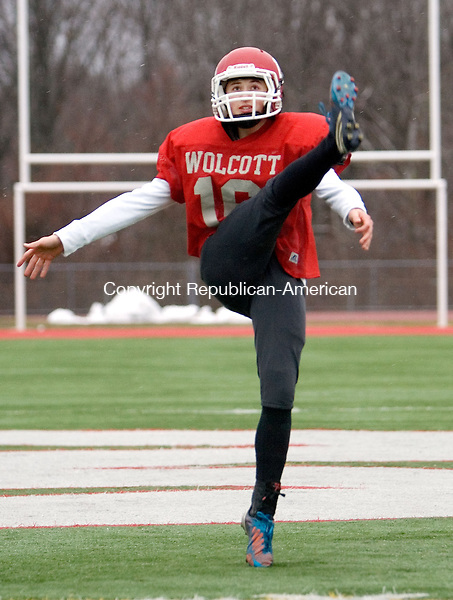 WOLCOTT CT. 02 December 2014-120214SV05-Ed Parenti of Wolcott during practice in Wolcott Tuesday. Parenti is the place-kicker and punter for the Wolcott football team.<br /> Steven Valenti Republican-American