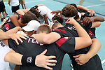 CHAPEL HILL, NC - MAY 13: South Carolina's players huddle before the match. The University of North Carolina Tar Heels hosted the University of South Carolina Gamecocks on May 13, 2017, at The Cone-Kenfield Tennis Center in Chapel Hill, NC in an NCAA Division I Men's College Tennis Tournament second round match. UNC won 4-1.