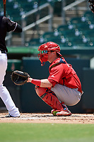 Palm Beach Cardinals catcher Brian O'Keefe (32) waits to receive a pitch during a game against the Jupiter Hammerheads on August 5, 2018 at Roger Dean Chevrolet Stadium in Jupiter, Florida.  Jupiter defeated Palm Beach 3-0.  (Mike Janes/Four Seam Images)