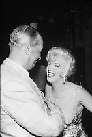 Some Like It Hot (1959)<br /> Behind the scenes photo of Marilyn Monroe &amp; Maurice Chevalier<br /> *Filmstill - Editorial Use Only*<br /> CAP/KFS<br /> Image supplied by Capital Pictures