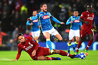 Liverpool's Virgil van Dijk  tackles Napoli's Dries Mertens<br /> <br /> Photographer Richard Martin-Roberts/CameraSport<br /> <br /> UEFA Champions League Group C - Liverpool v Napoli - Tuesday 11th December 2018 - Anfield - Liverpool<br />  <br /> World Copyright © 2018 CameraSport. All rights reserved. 43 Linden Ave. Countesthorpe. Leicester. England. LE8 5PG - Tel: +44 (0) 116 277 4147 - admin@camerasport.com - www.camerasport.com