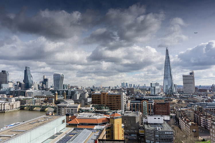 A broad view over London with The Shard in the foreground