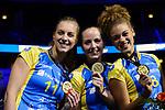 28.10.2018, TUI Arena, Hannover<br />Volleyball, Supercup, Siegerehrung<br /><br />Beta Dumancic (#11 Schwerin), Denise Hanke (#10 Schwerin), Kimberly Drewniok (#8 Schwerin) mit Goldmedaille<br /><br />  Foto © nordphoto / Kurth