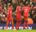 Mario Balotelli of Liverpool celebrates scoring his sides third goal - Liverpool vs. Tottenham Hotspurs - Barclay's Premier League - Anfield - Liverpool - 10/02/2015 Pic Philip Oldham/Sportimage