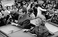 "October 23, 1972. Westchester, New York, United States:  Richard Milhous Nixon and his wife, Thelma Catherine ""Pat"" Ryan Nixon, on the campaign trail in Nassau country New York."
