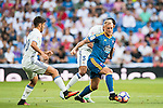 Iago Aspas of RC Celta de Vigo battles for the ball with Raphael Varane (r) of Real Madrid  during their La Liga match at the Santiago Bernabeu Stadium between Real Madrid and RC Celta de Vigo on 27 August 2016 in Madrid, Spain. Photo by Diego Gonzalez Souto / Power Sport Images