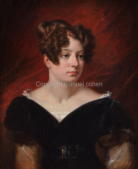 Portrait of Baroness de Forget, oil painting on canvas, 1826, by Horace Vernet, 1789-1863, in the Chateau Royal de Blois, built 13th - 17th century in Blois in the Loire Valley, Loir-et-Cher, Centre, France. The chateau has 564 rooms and 75 staircases and is listed as a historic monument and UNESCO World Heritage Site. Picture by Manuel Cohen