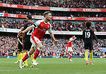 Arsenal's Shkodran Mustafi celebrates scoring his sides second goal during the Premier League match at the Emirates Stadium, London. Picture date: April 2nd, 2017. Pic credit should read: David Klein/Sportimage