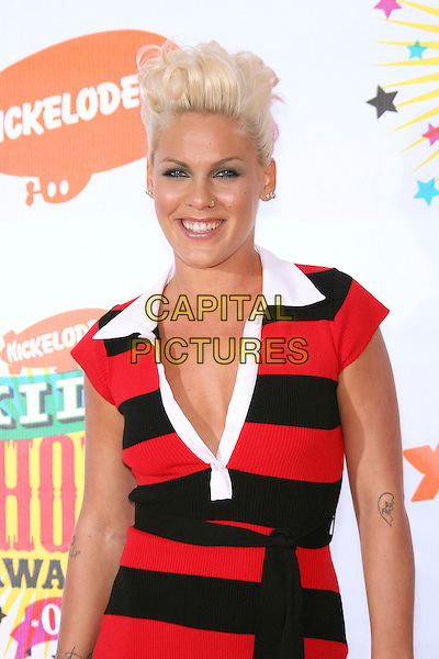 PINK.Nickelodeon's 19th Annual Kids' Choice Awards held at Pauley Pavilion, Westwood, California, USA.  .April 1st, 2006.Photo: Zach Lipp/AdMedia/Capital Pictures.Ref: ZL/ADM.half length black red striped stripes music pinnk .www.capitalpictures.com.sales@capitalpictures.com.© Capital Pictures.