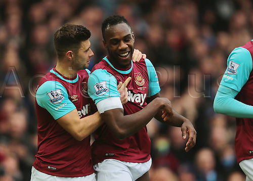 27.02.2016. Boleyn Ground, London, England. Barclays Premier League. West Ham versus Sunderland. West Ham United Defender Aaron Creswell (left) congratulates West Ham United Midfielder Michail Antonia on his goal, 1-0 West Ham