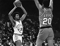 Golden State Warriors Darnell Hillman and Portland's Maurice Lucas...(1980 photo/Ron Riesterer)