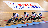 Picture by Alex Whitehead/SWpix.com - 04/03/2016 - Cycling - 2016 UCI Track Cycling World Championships, Day 3 - Lee Valley VeloPark, London, England - Great Britain's Laura Trott, Elinor Barker, Joanna Rowsell-Shand and Ciara Horne compete in the Women's Team Pursuit first round.