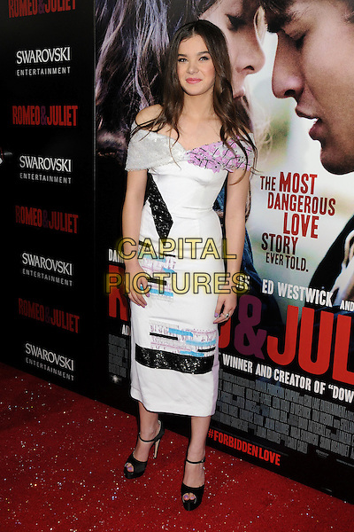 Hailee Steinfeld<br /> &quot;Romeo &amp; Juliet&quot; Los Angeles Premiere held at Arclight Cinemas, Hollywood, California, USA.<br /> September 24th, 2013<br /> full length white dress off the shoulder black blue purple ankle strap peep toe shoes pink<br /> CAP/ADM/BP<br /> &copy;Byron Purvis/AdMedia/Capital Pictures