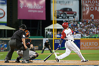 11 March 2009: #23 Jesus Feliciano of Puerto Rico is seen at bat watching a fly ball during the 2009 World Baseball Classic Pool D game 6 at Hiram Bithorn Stadium in San Juan, Puerto Rico. Puerto Rico wins 5-0 over the Netherlands