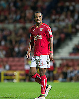 Nathan Delfouneso of Swindon Town during the The Checkatrade Trophy match between Swindon Town and Chelsea U23 at the County Ground, Swindon, England on 13 September 2016. Photo by Andy Rowland.