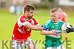 St Pats Conor Moore putting pressure on Paul O'Donoghue of Listry in their encounter in Division 3 of the Senior Football County league on Sunday in Blennerville