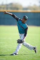 Mariano Poll, Jr. (1) of James Monroe Campus High School in Bronx, New York during the Under Armour All-American Pre-Season Tournament presented by Baseball Factory on January 14, 2017 at Sloan Park in Mesa, Arizona.  (Mike Janes/MJP/Four Seam Images)