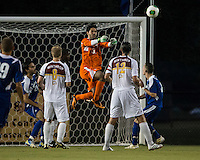 Winthrop University Eagles vs the Brevard College Tornados at Eagle's Field in Rock Hill, SC.  The Eagles beat the Tornados 6-0.  Guilherme Avelar (31) punches the ball out of the goal area.