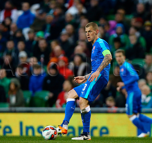 29.03.2016. Aviva Stadium, Dublin, Ireland. International Football Friendly Rep. of Ireland versus Slovakia. <br /> Martin Skrtel (Slovakia) passes the ball wide.