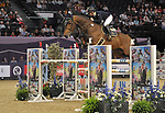 "Louise Saywell (GBR) riding ""Excelibur"". International showjumping. Grandstand welcome stakes. Horse of the year show (HOYS). National Exhibition Centre (NEC). Birmingham. UK. 05/10/2018. ~ MANDATORY CREDIT Garry Bowden/SIPPA - NO UNAUTHORISED USE - +44 7837 394578"