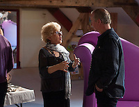 Jenny Ellis talking with David Almond at an evening celebrating the work of Leila Berg and the official opening of her archive at Seven Stories in Newcastle, 19th September 2012.  Jenny is Leila's daughter.  David Almond is a writer and patron of Seven Stories.