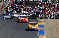 Jun. 21, 2009; Sonoma, CA, USA; NASCAR Sprint Cup Series driver Matt Kenseth (17) leads Joey Logano (20) out of turn three during the SaveMart 350 at Infineon Raceway. Mandatory Credit: Mark J. Rebilas-