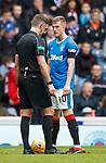 07.04.2018 Rangers v Dundee:<br /> referee Greg Aitken and Ross McCrorie