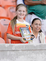 Houston Dash fan waiting for Alex Morgan of the Orlando Pride to sign her book on Friday, May 20, 2016 at BBVA Compass Stadium in Houston Texas. The Orlando Pride defeated the Houston Dash 1-0.
