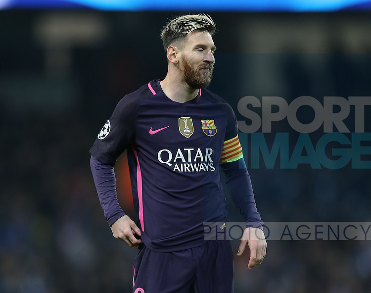 Lionel Messi of Barcelona dejected during the Champions League Group C match at the Etihad Stadium, Manchester. Picture date: November 1st, 2016. Pic Simon Bellis/Sportimage
