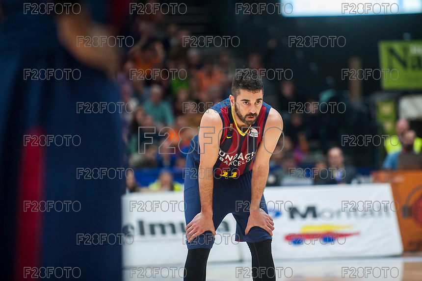 VALENCIA, SPAIN - MARCH 5: Juan Carlos Navarro during EURO CUP match between Valencia Basket Club and Bascelona F.C. Basket at Fonteta Stadium on March 22, 2015 in Valencia, Spain