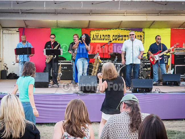 Summer of Love band on the stage.<br /> <br /> Day 4 of the 79th Amador County Fair--Junior Livestock Auction, Destruction Derby, exhibits, music and more!<br /> <br /> #AmadorCountyFair, #PlymouthCalifornia,<br /> #TourAmador, #VisitAmador