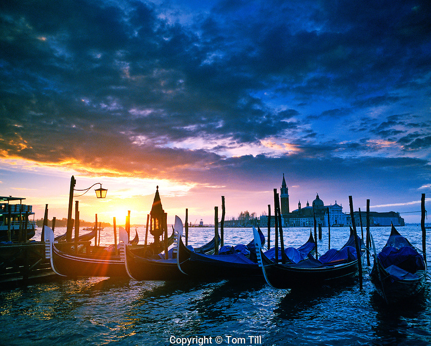 Sunrise along the San Marco Canal Venice, Italy Seen from Piazza San Marco Gondolas on Canal bank 67 H I C Adriatic Sea