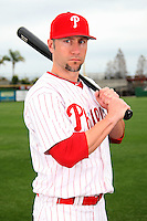 February 24, 2010:  First Baseman Ross Gload (3) of the Philadelphia Phillies poses during photo day at Bright House Field in Clearwater, FL.  Photo By Mike Janes/Four Seam Images