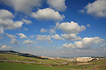 Israel, Menashe' Heights.  A view of Yokneam from road 672