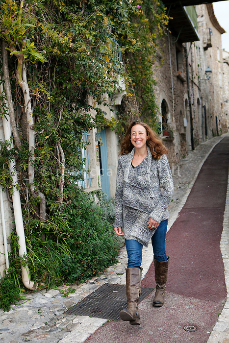 Chrissie Wellington poses for the photographer, St Paul de Vence, France, 23 January 2012