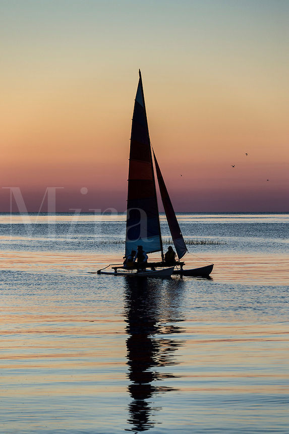 Sunset Sail boat on Cape Cod Bay, Massachusetts, USA