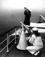 Anti-aircraft gun prcatice.  Photo taken on one of the converted yachts now being used in the Naval Reserve.  Ca.  1918.  Edwin Levick.  (War Dept.)<br />